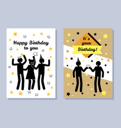 Happy birthday to you two color festive banners vector