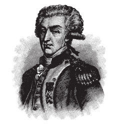 Lafayette in 1777 vintage vector