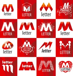Large set of logos letter m vector
