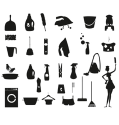 Laundry and washing black icons set vector