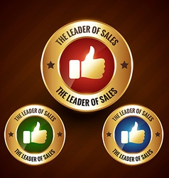 leader of sales golden label badge with set of vector image vector image
