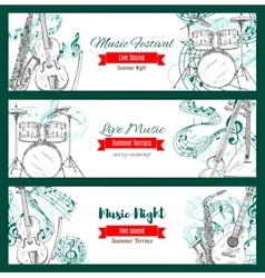 Melody with notes audio or sound music banner vector
