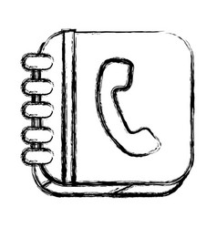 monochrome sketch of square button with phone book vector image