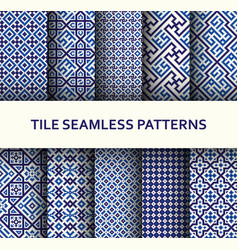 mosaic seamless patterns set modern geometric vector image