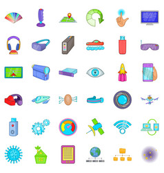 Network technology icons set cartoon style vector