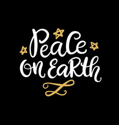 Peace on earth christmas hand lettering phrase vector