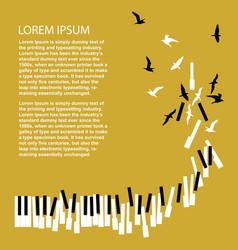 Piano keys turn into birds vector