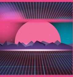 retro neon background design vector image