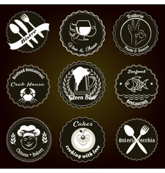 Retro restaurant menu badges vector