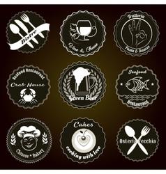 Retro restaurant menu badges vector image vector image