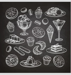 set of dessert on chalkboard vector image vector image