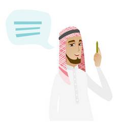 Young muslim businessman with speech bubble vector