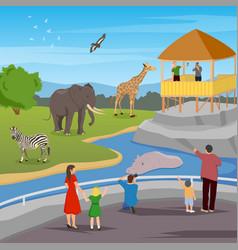 zoo flat cartoon composition vector image vector image