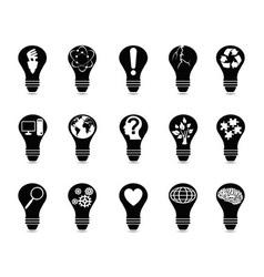 Light bulb idea icons set vector