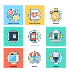 Flat color line design concepts icons 17 vector
