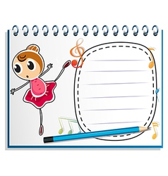 A notebook with a drawing of a ballet dancer vector image