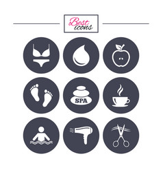 Spa hairdressing icons swimming pool sign vector