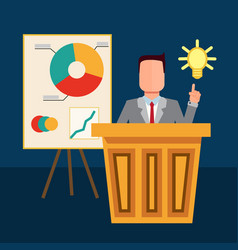 the businessman pointing to the bulb vector image