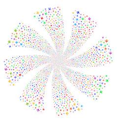 jet plane fireworks swirl rotation vector image