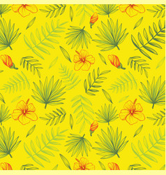 Hand drawn floral background with palm leaves vector