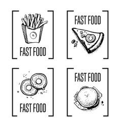 fast food menu design element set vector image