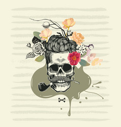 Human skull drawn in retro etching style with half vector