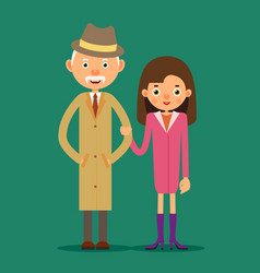 Old man and girl vector