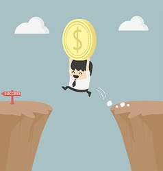 Businessman holding money jumping over the cliff vector