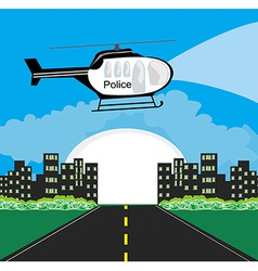 Police helicopter patrolling the city at night vector