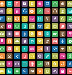 100 technology icons vector image