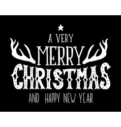 Merry christmas and happy new year retro poster vector