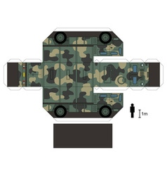 Paper model of a military vehicle vector