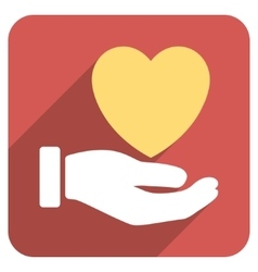 Heart charity hand flat rounded square icon with vector