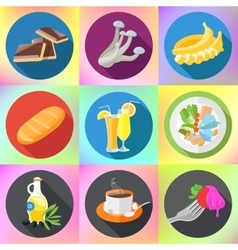 Food drink dishes icon set vector
