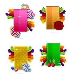 Glass colored creative cards set vector
