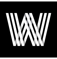 Capital letter w made of three white stripes vector