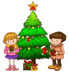A simple sketch of the kids near the christmas vector image vector image