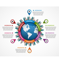 Abstract infographic in the earth in the centre vector