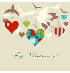 birds and hearts vector image