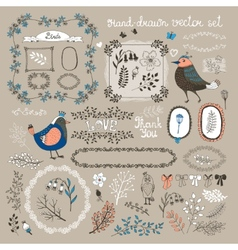 Birds twigs and flowers vector