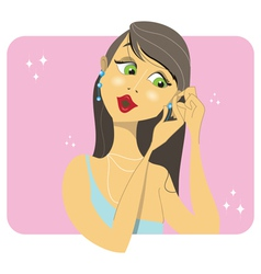 Brunette woman placing her earrings vector image vector image