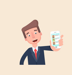 Businessman shows the chat app on your phone vector