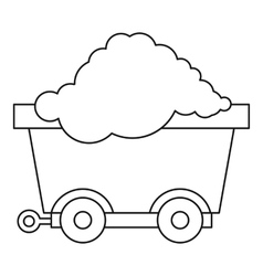 Cart on wheels with coal icon outline style vector