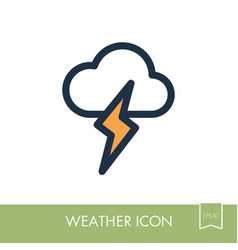 cloud lightning icon meteorology weather vector image vector image