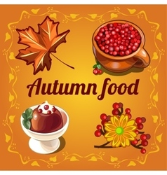 Delicious food and a cozy autumn vector