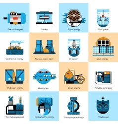 Energy production flat line icons set vector image