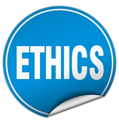 Ethics round blue sticker isolated on white vector