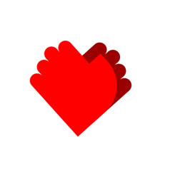 Friendship logo palm emblem two hands symbol love vector