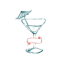 Glass cocktail banner ribbon vector