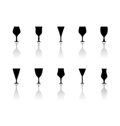 glasses icon set with reflection silhouette vector image